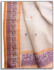 bengal handloom tassar sari detail